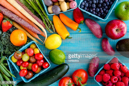 Assorted Fruits and Vegetables Background : Stock Photo
