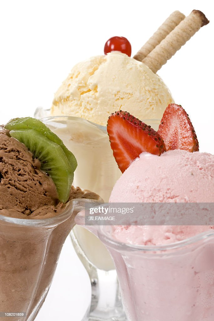 Assorted Ice Cream in Glass Classic Sundae Cups : Stock Photo