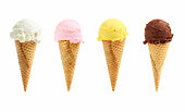 Assorted ice cream in sugar cones