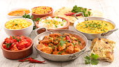 assorted indian curry and dish