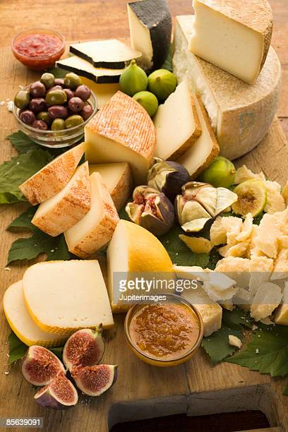 Assorted Italian cheese with figs and olives