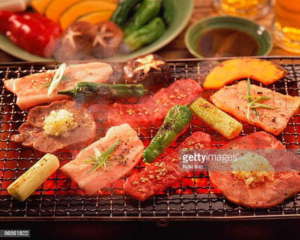 Assorted meat grilled over charcoal