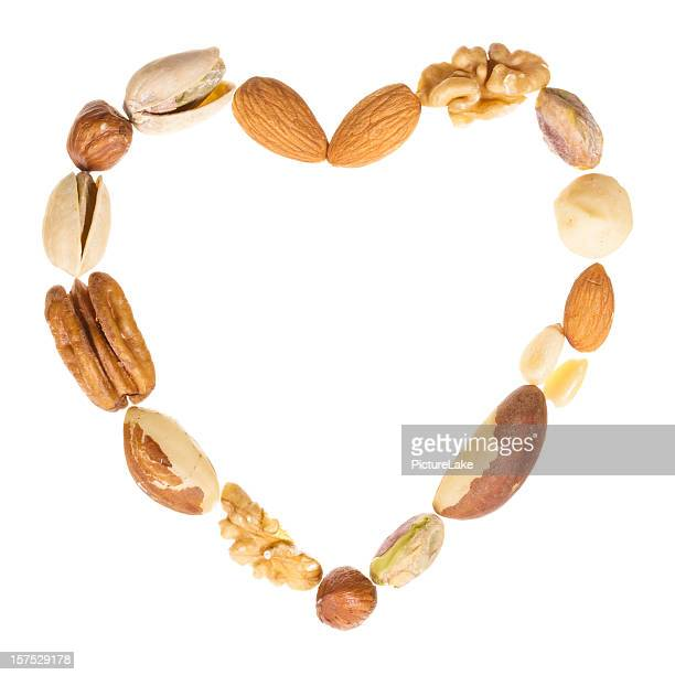 Assorted nuts heart frame