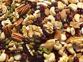 Close-up of mixed nuts, for backgrounds or textures.