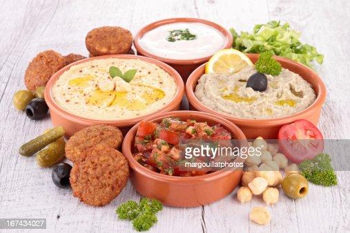 assorted of oriental food, mezze : Stock Photo