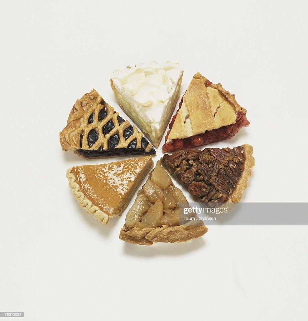 Assorted pie slices