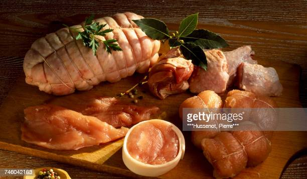assorted raw meat and poultry