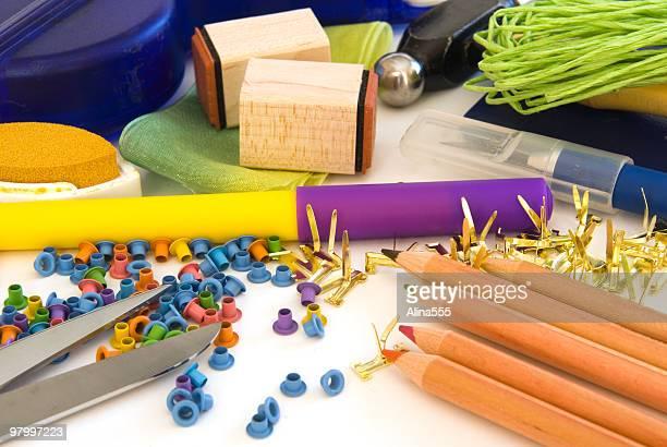Assorted scrapbooking supplies