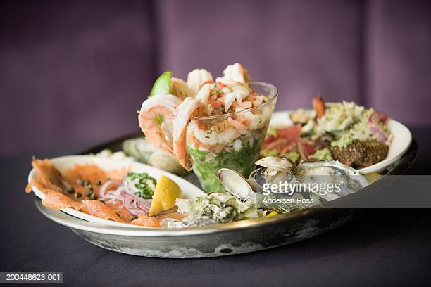Assorted seafood on serving tray