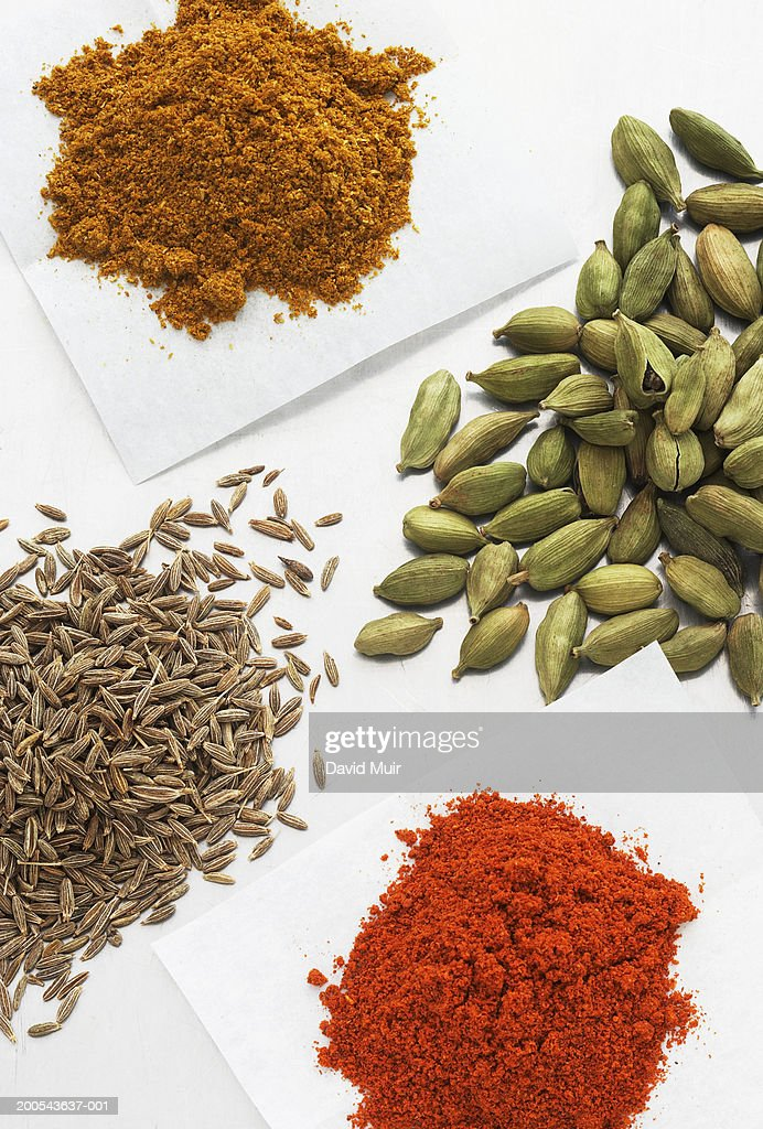 Assorted spices and curry powder, close-up : Stock Photo