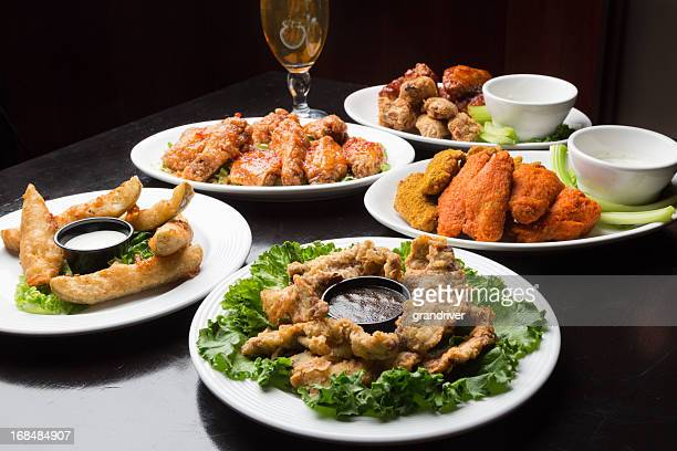 Assorted Spicy Chicken Wings and Beer