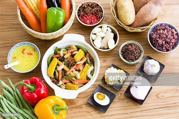 Assorted vegetables and cooked vegetable dish