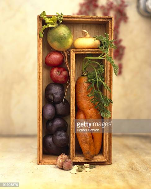 Assorted vegetables in shadow box
