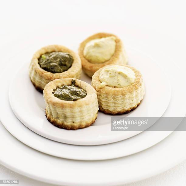 assorted vol-au-vents served on a plate
