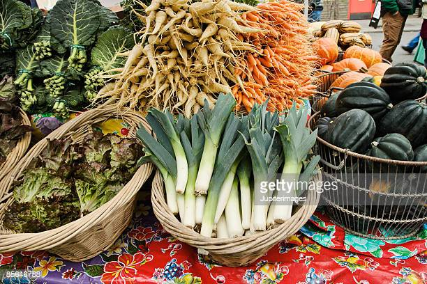 Assorted winter vegetables at farmer's market