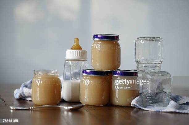 Assortment of baby food and formula