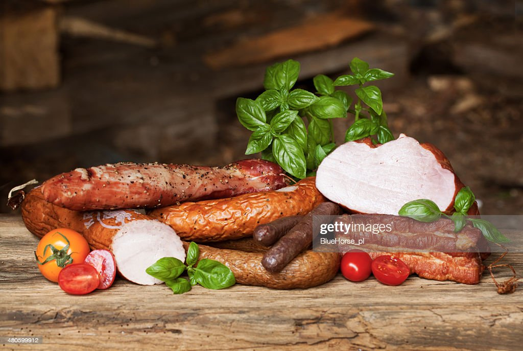 Assortment of cold meats, variety of processed cold meat products : Stock Photo