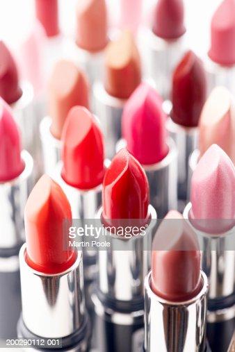 Assortment of coloured lipsticks, close-up