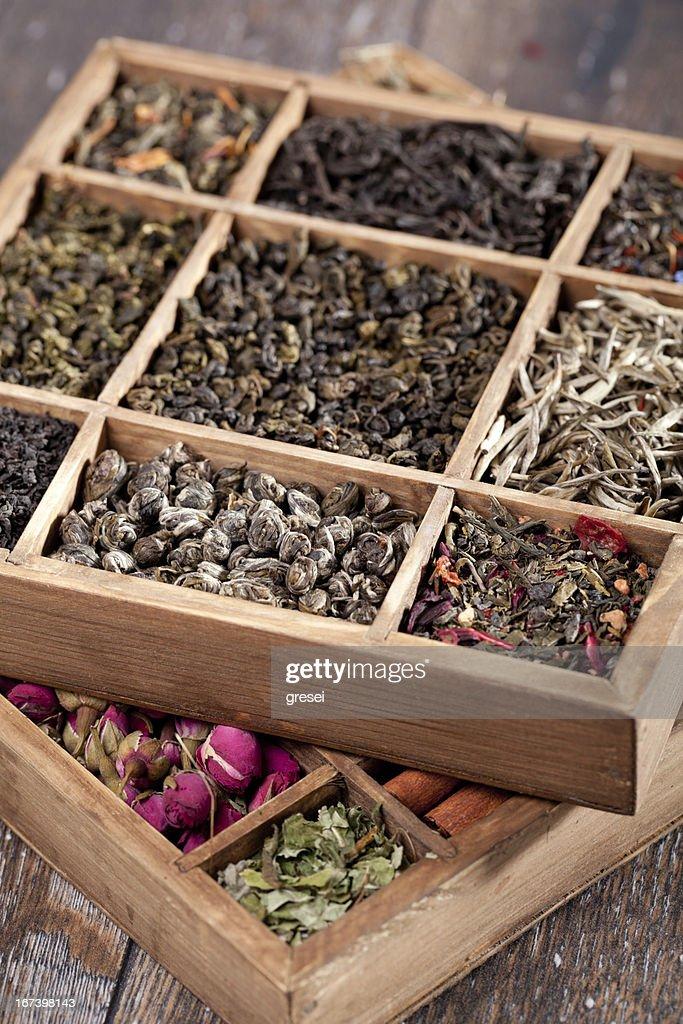 assortment of dry tea : Stock Photo