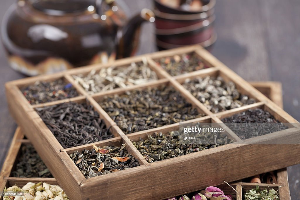assortment of dry tea : Stock Photo
