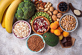 Assortment of product containing magnesium. Healthy diet food. Top view