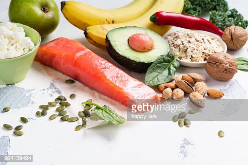 Assortment of food - natural sources of dopamine : Stock Photo