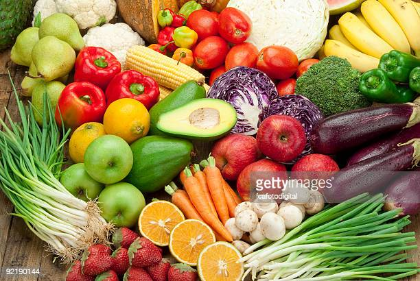 Assortment of fruits and veggies shoot from above