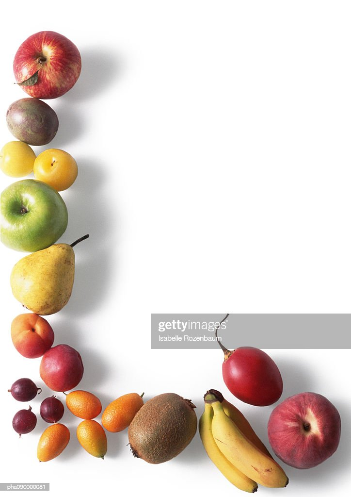 Assortment  of fruits, white background : Stock Photo