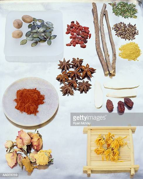 Assortment of Healthy Herbs, Seeds and Fruit