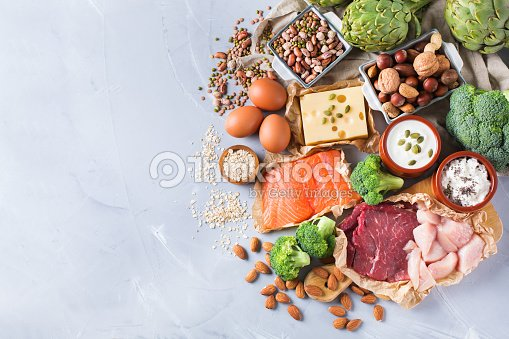Assortment of healthy protein source and body building food : Stock Photo