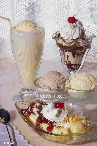 Assortment of ice cream dishes