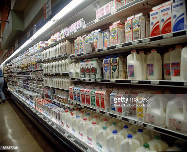 Assortment of milk in grocery store