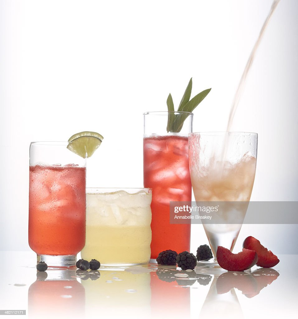 Assortment of sparkling water juice cocktails stock photo for Sparkling water mixed drinks