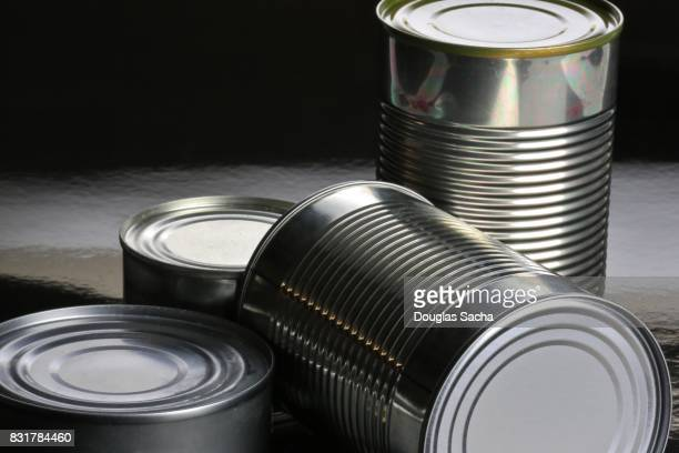 Assortment of tin food cans