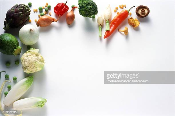 Assortment of vegetables, viewed from directly above