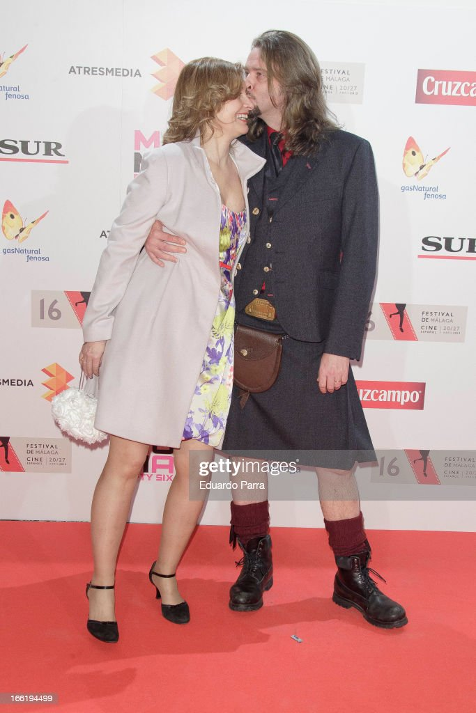 Assumpta Serna and Husband Scott Clarendon attend Malaga Film Festival party photocall at MOMA 56 disco on April 9, 2013 in Madrid, Spain.