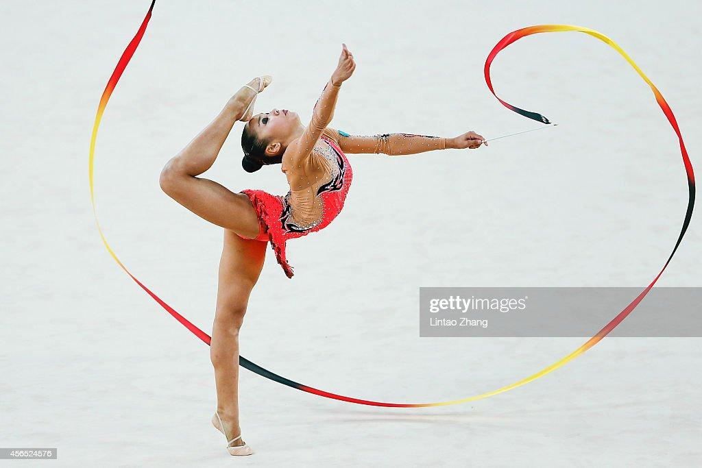 Assymova Aliya of Kazakhstan competes in the Gymnastics Rhythmic Individual All-Around Final during day thirteen of the 2014 Asian Games at at Namdong Gymnasiumon October 2, 2014 in Incheon, South Korea.