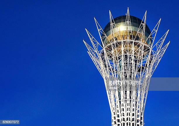 Astana capital of Kazakhstan Bayterek Tower symbol of the country 97m high representing a Kazakh legend where a mythical bird called Samruk laid a...