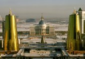 Modern urban cityscape with Presidential Palace in Astana Kazakhstan