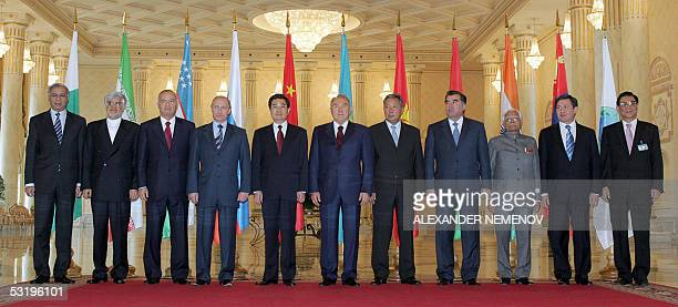 Leaders at the Shanghai Cooperation Organization summit Pakistan's Prime Minister Shaukat Aziz Iran's First VicePresident Mohammad Reza Aref...