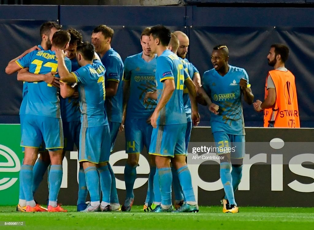 Astana players celebrate a goal during the Europa League football match Villarreal CF vs FC Astana at La Ceramica stadium in Vila-real on September 14, 2017. /