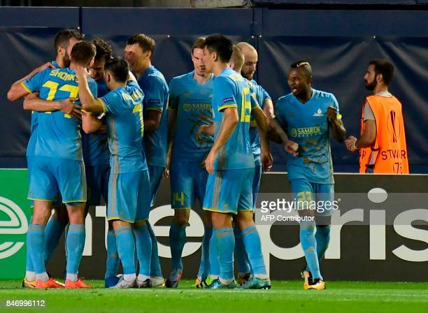Astana players celebrate a goal during the Europa League football match Villarreal CF vs FC Astana at La Ceramica stadium in Vilareal on September 14...