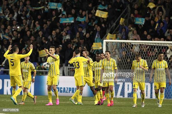 Astana players celebrate a goal during the UEFA Champions League Group C football match between FC Astana and Galatasaray AS at Astana Arena on...