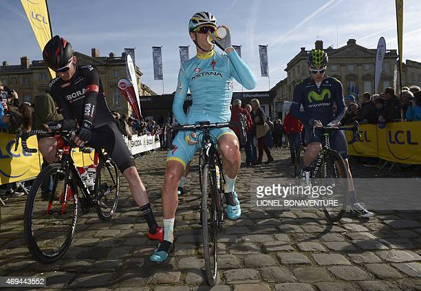 Astana Pro Team Dutch cyclist Lars Boom waits for the start of the 113th edition of the ParisRoubaix ParisRoubaix oneday classic cycling race at the...