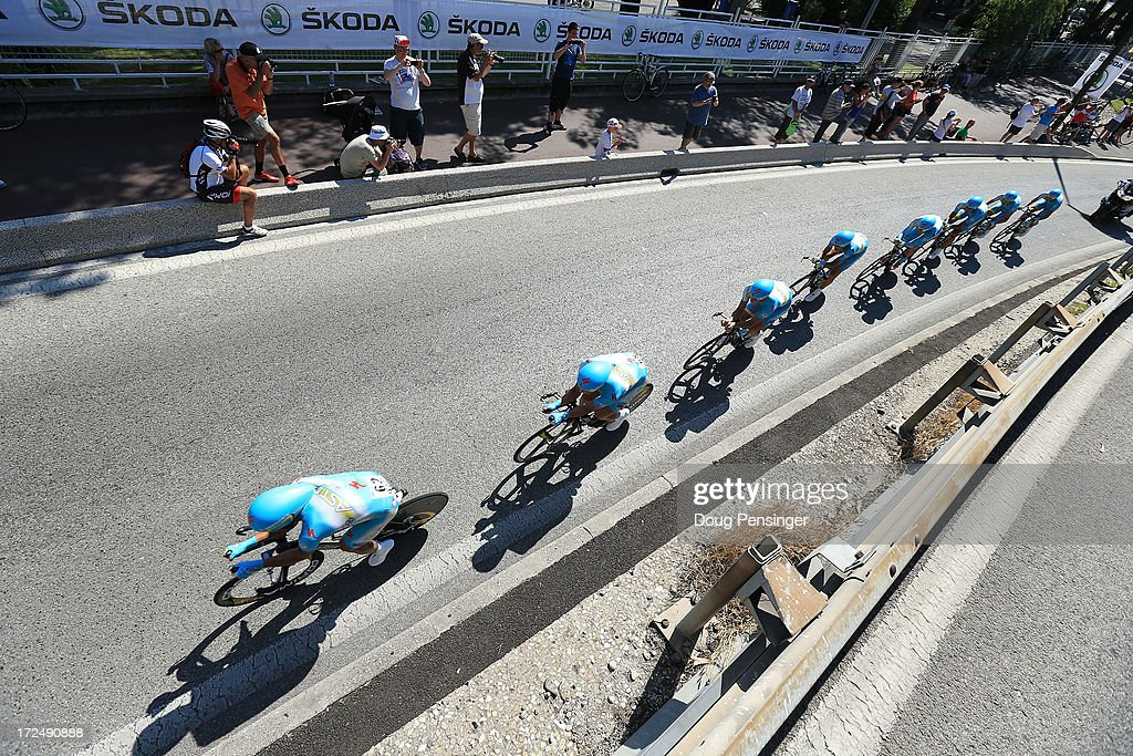 Astana Pro Team in action during stage four of the 2013 Tour de France, a 25KM Team Time Trial on July 2, 2013 in Nice, France.