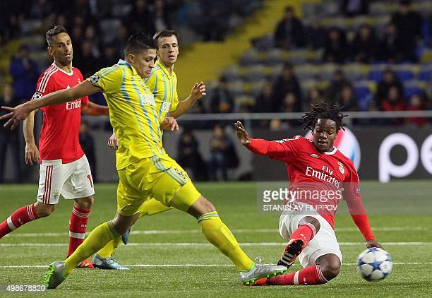 Astana's Colombian midfielder Roger Henao Canas vies for the ball with Benfica's midfielder Renato Sanches during the UEFA Champions League group C...