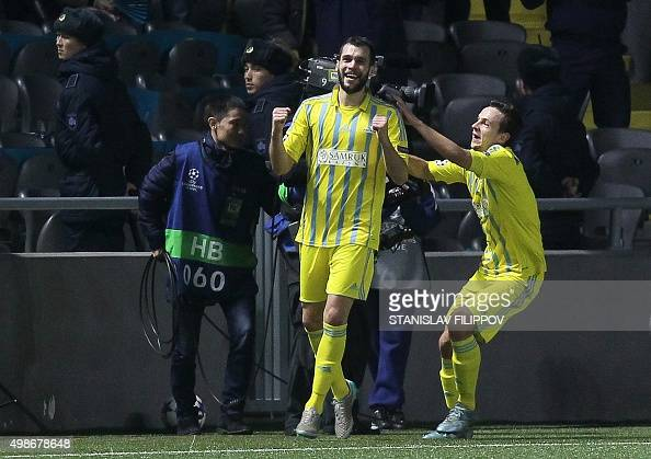 Astana's defender from BosniaHerzegovina Marin Anicic celebrates after scoring a goal during the UEFA Champions League group C football match between...