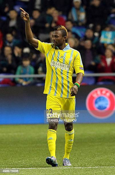 Astana's Ghanaian forward from Ghana Patrick Twumasi celebrates after scoring a goal during the UEFA Champions League group C football match between...