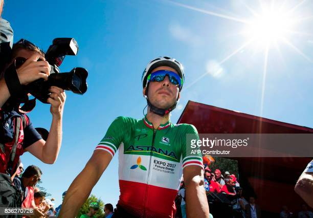 Astana's Italian cyclist Fabio Aru waits prior to the start of the 3rd stage of the 72nd edition of 'La Vuelta' Tour of Spain cycling race on August...
