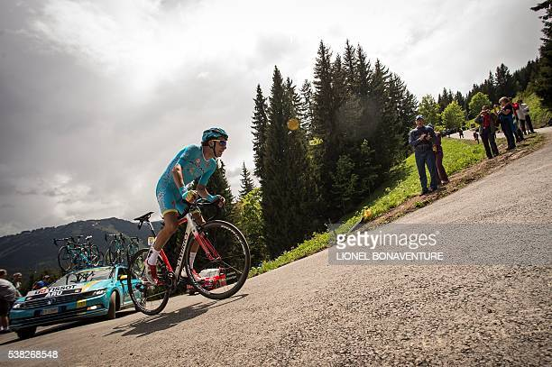 Astana's Italian rider Fabio Aru rides during the first stage of the 68th edition of the Dauphine Criterium cycling race on June 5 2016 in Les Gets...